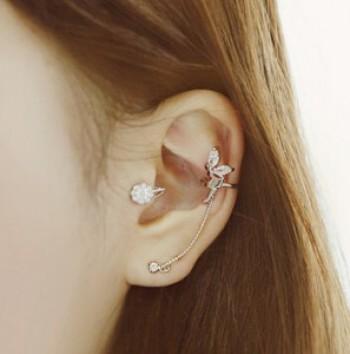 Crystal rhinestone elegant Angel line Stud Earrings ear clip the ear bones clip