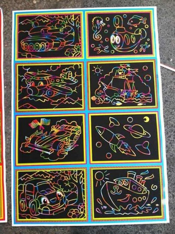 Children's educational toys large black painting DIY 16K scratch scratch painting children preferred gifts