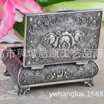 欧式复古浮雕饰高档金属玫瑰花珠宝盒生日礼品