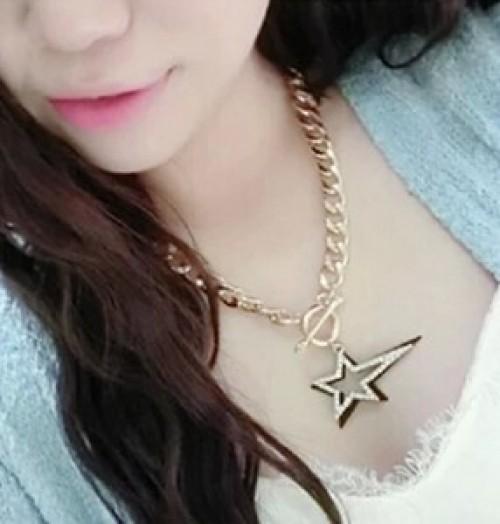 Korea fashion double Pentagram necklace Joker short dramatic Jewelry Accessories decorative collar bone chain