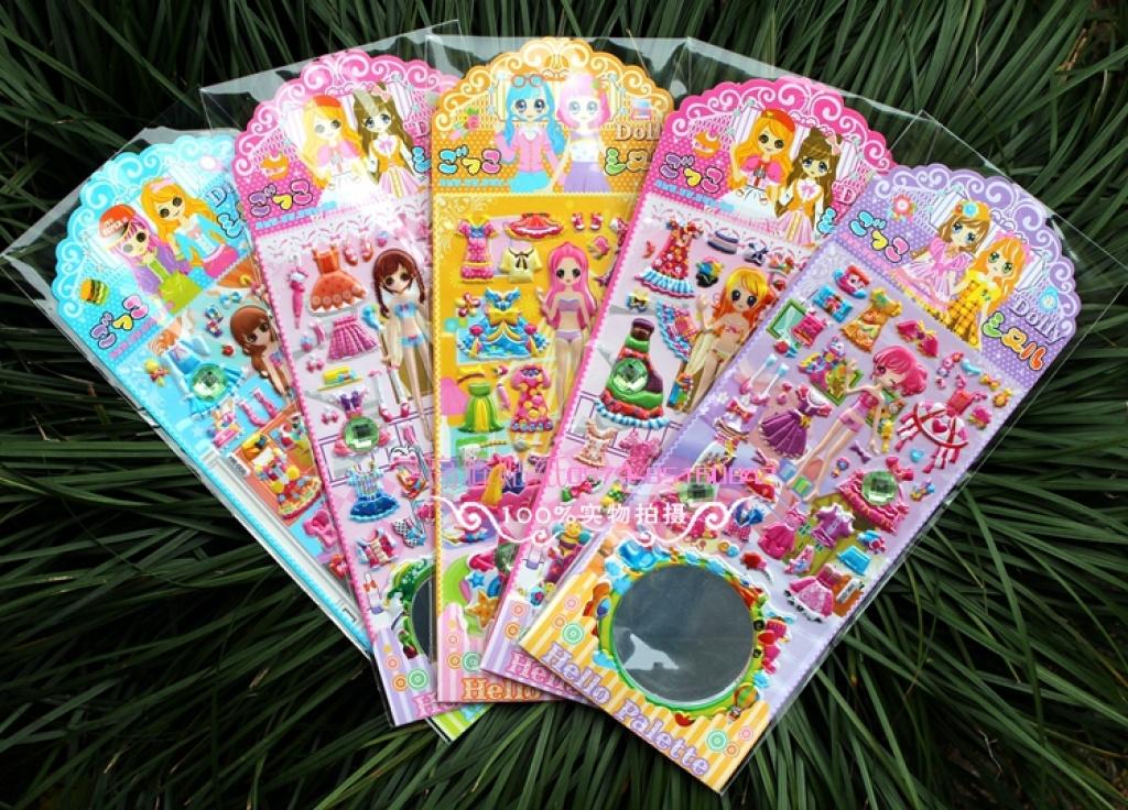 新款可爱公主镜子换装衣贴 立体泡泡贴纸 幼儿奖励贴益智玩具