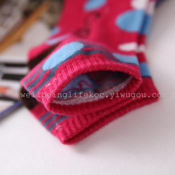 Spot cartoon print solid color women boat socks/socks