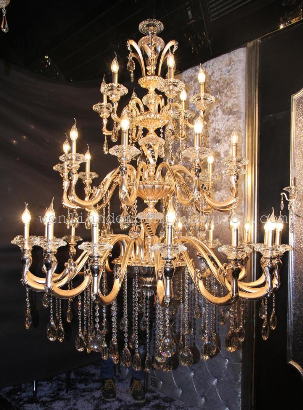 欧式水晶吊灯锌合金吸吊现代玉石水晶灯客厅卧室灯具