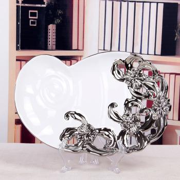 Bean shape plated hollow ceramic bowls home ceramic crafts