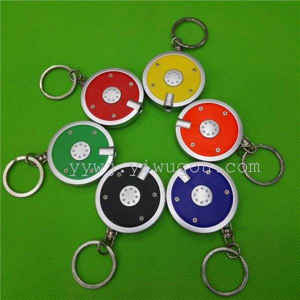 供应4公分圆形迷你可爱led小灯 创意钥匙扣小手电挂件