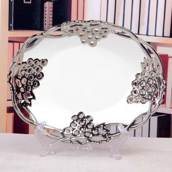 Plated hollow grape pattern fruit bowl home ceramic crafts