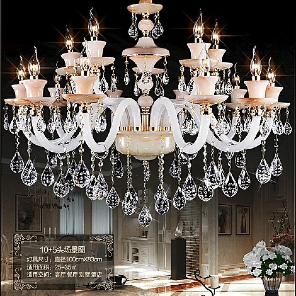 欧式蜡烛玉石水晶吊灯