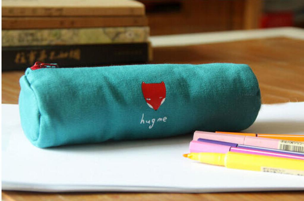 韩国文具小清新笔袋 森林系列帆布铅笔盒笔袋 小动物圆筒笔袋