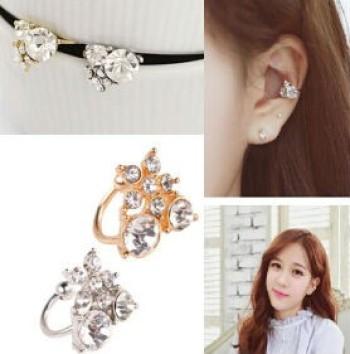 Korea fashion ear jewelry solid geometry sweet rhinestone flower Stud Earrings ear clips