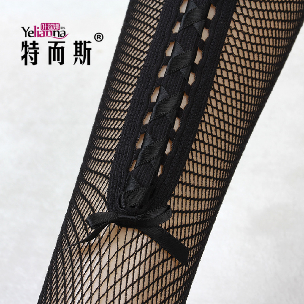日系春夏长筒袜花边系带过膝袜性感网袜打底袜可爱
