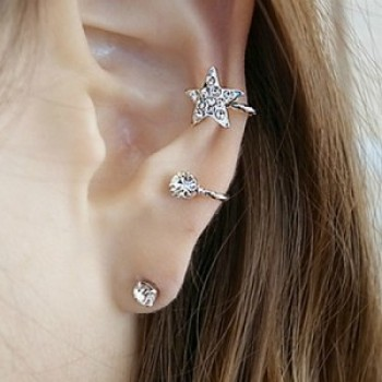 2015 new Japan and South Korea drill sweet Flash stars unique ear clip ear nail Stud Earrings