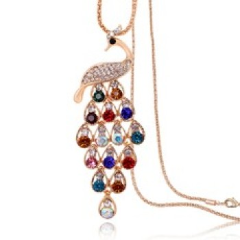 Peacock long necklace sweater chain long Crystal Korea fashion elegant Chinese-style model