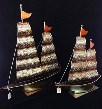 帆船摆件一帆风顺工艺品办公桌摆设风水现代家居铁艺摆件-复古家居