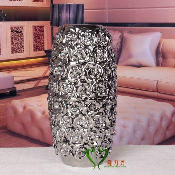 European plating rose decoration ceramic vases home decoration ceramic handicrafts