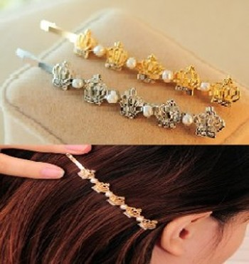 New Korean jewelry Pearl diamond-encrusted tiara clip hair clips side clips-clips hair accessories