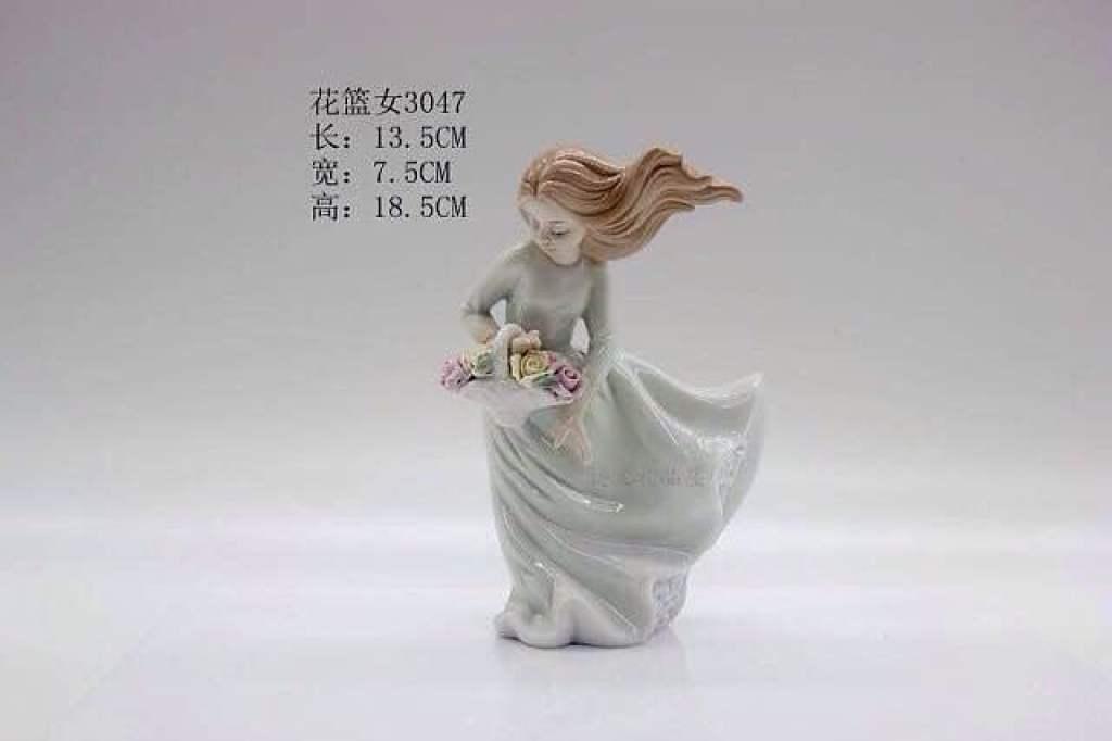 欧式陶瓷人物花篮女摆设装饰品摆件家居饰品欧式创意