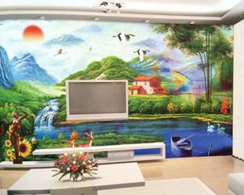 现代简约大型壁画3d立体无纺布客厅电视背景欧式壁画