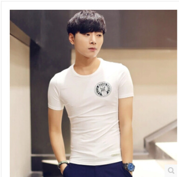 Summer styles of men's shirts at the end of Korean version of slim fashion printing cotton short sleeve t shirt