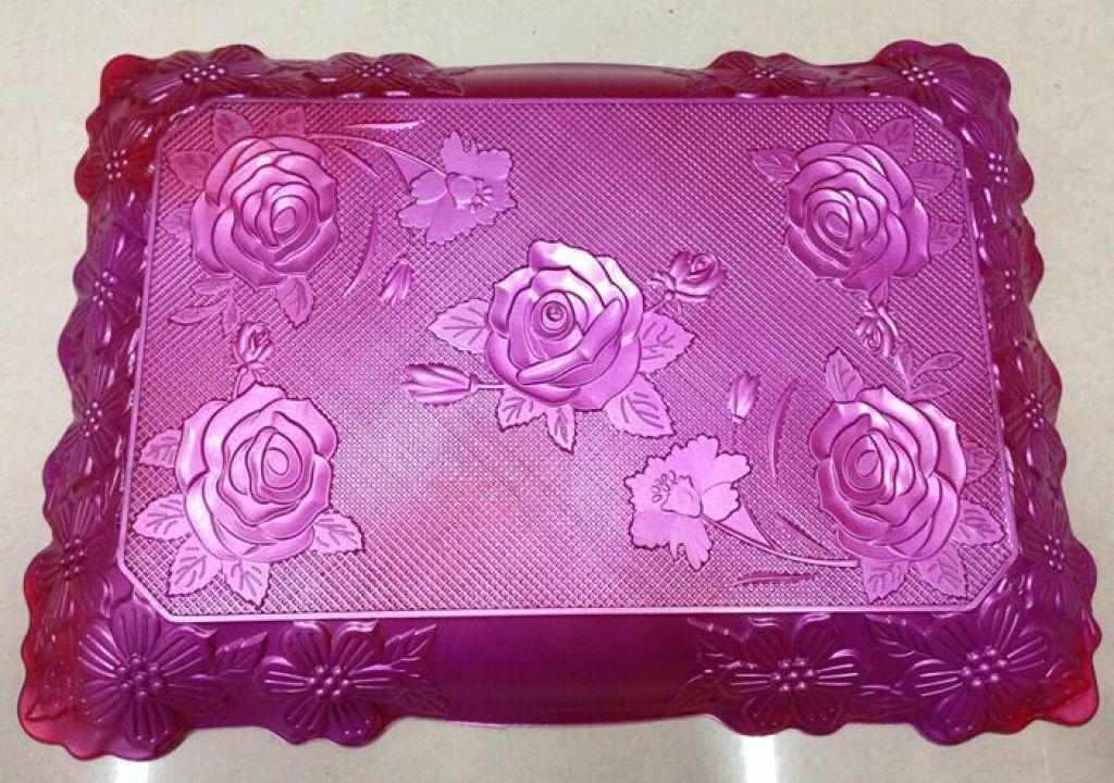 红色结婚喜庆塑料ps玫瑰牡丹喷漆长方形花边长盘茶盘果盘