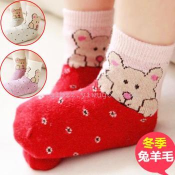 Fashion wool socks wool socks cartoon baby winter padded socks large, medium and small children's socks