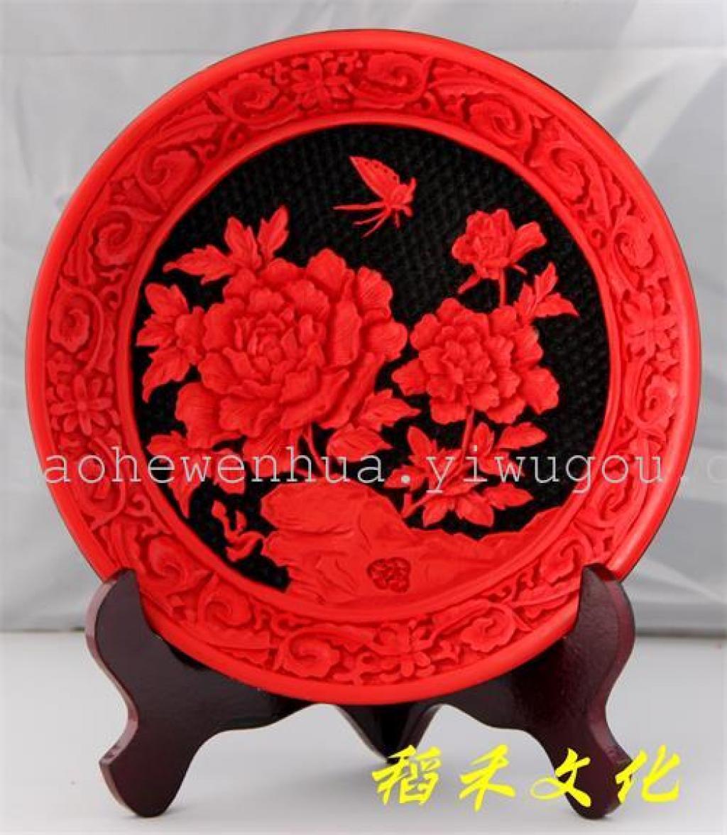 漆雕工艺品大漆雕看盘摆件传统工艺小礼品
