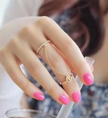 Korean Jewelry Accessories decorative diamond-studded peace antiwar tassel chain ring rings women