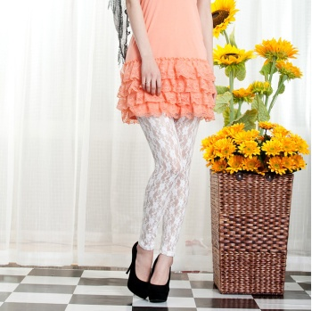 Factory direct Korean summer meat high elastic small plum lace fashion pants