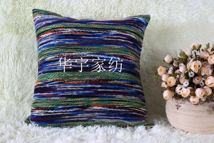 新款时尚毛线编织背面配绒面料抱枕沙发靠垫