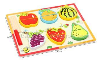 宝宝切水果拼板蔬菜切切看木制益智女孩厨房玩具 儿童过家家玩具