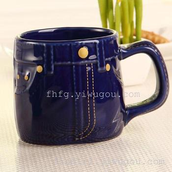 Deep blue jeans and white glaze cup cup jeans jeans personality cup cup