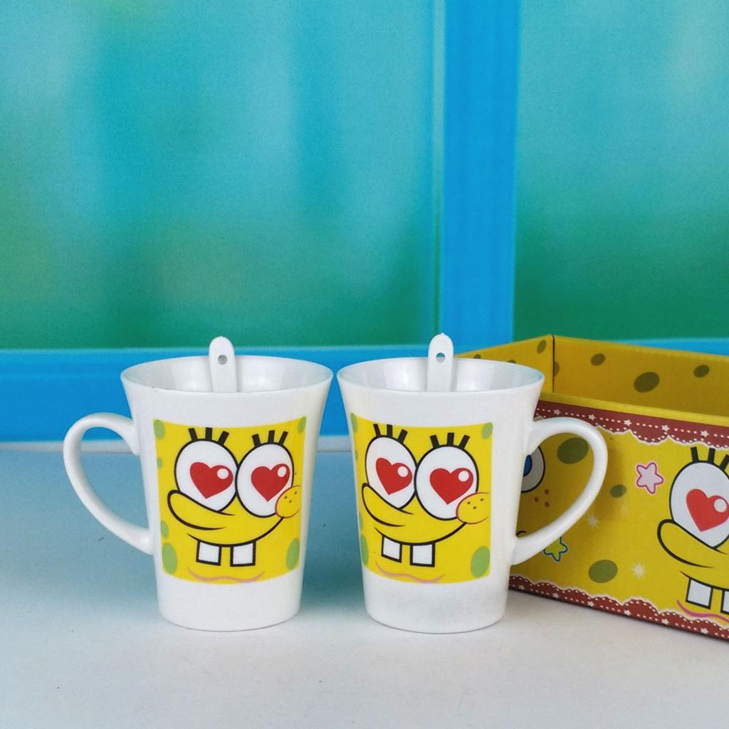 海绵宝宝表情卡通陶瓷杯子可爱简约马克杯单层随手杯