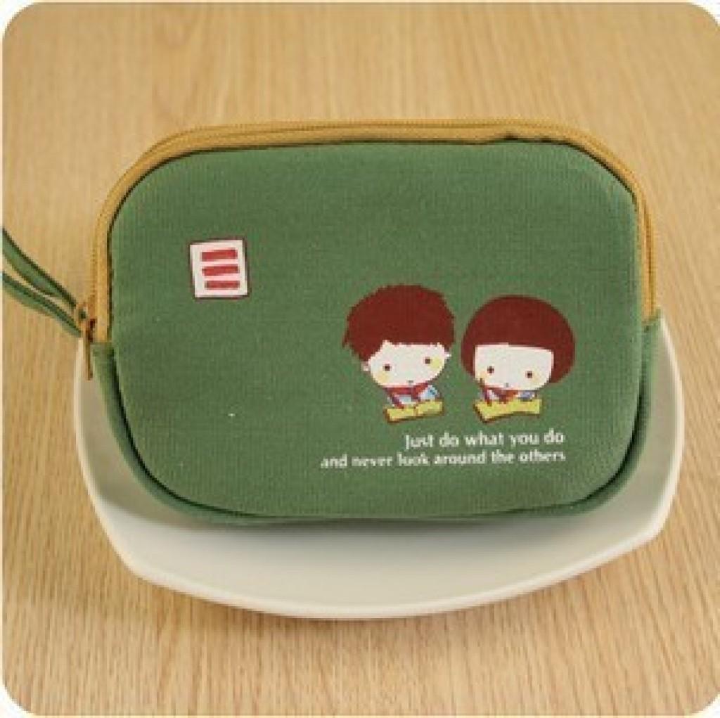a韩国可爱大队长小孩 双拉链帆布零钱包/钥匙包