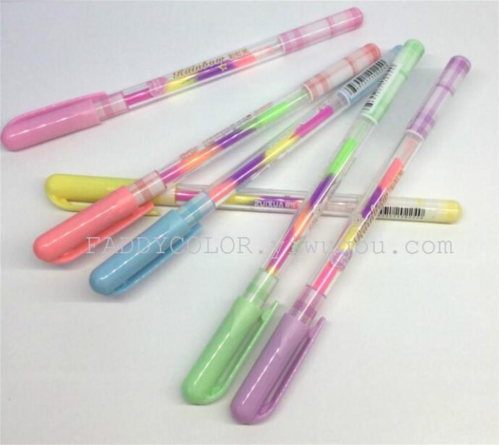 可爱彩虹钻石笔彩色笔七彩笔芯笔多色笔炫彩笔 文具