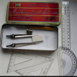 Red-capped world map iron Ruler compass student stationery set