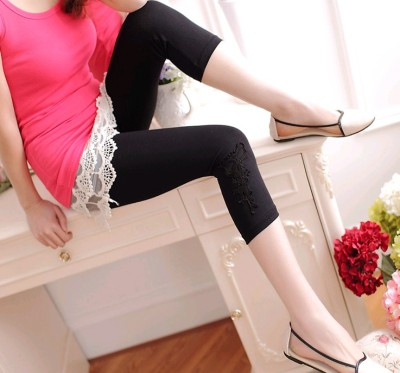 New women's clothing pants Korea side triangles lace stitching modal cropped pants leggings