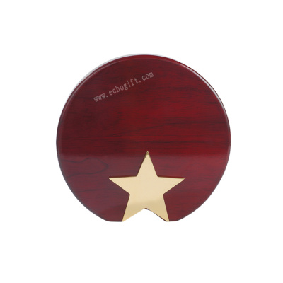 Wooden Plaque With Metal Star
