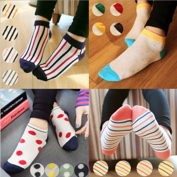 summer wind a large collection of new explosions polka dot cotton women boat socks socks wholesale