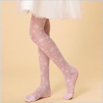 Pantyhose for children summer ultra-thin woven spun Footless socks girl socks, Candy-colored Peony silk stockings