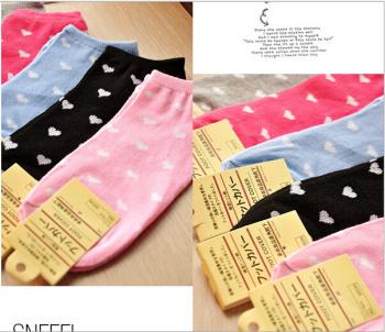 A004 Korea hot girl Ultrashort tube socks love love cute cotton socks boat socks wholesale