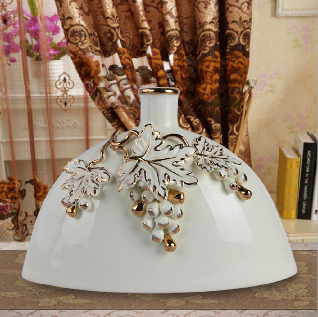 现代欧式家居花瓶|创意酒店客厅装饰摆件陶瓷葡萄