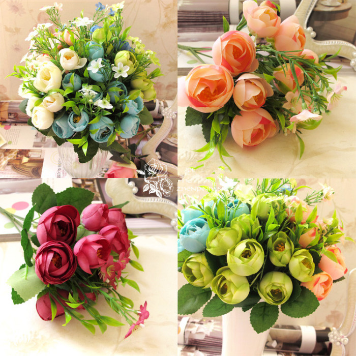 Supply factory direct sale 10 france tea bud simulation flower size training 26cm 5 of which a small tea bag tea bag 4cm5 in diameter diameter 25cm4 rose 6 leaf silk leaves 5 groups of plants 5 small flowers mightylinksfo
