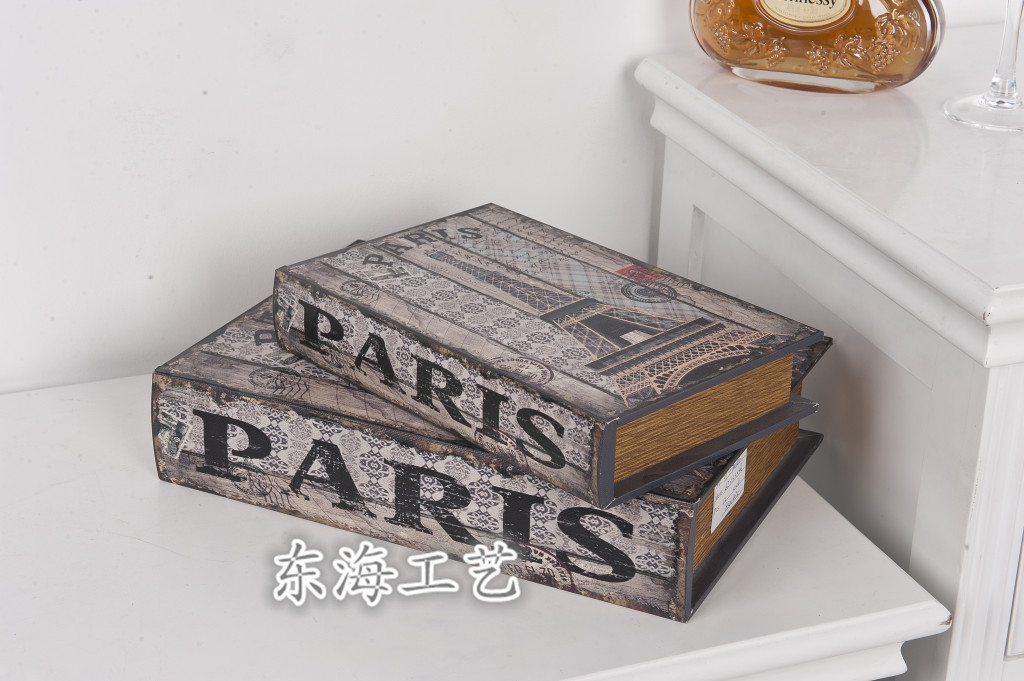 欧式复古展示厅 客厅摆件装饰品书盒摄影道具 收纳盒两件套