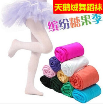 Spring and autumn Candy colored velvet pantyhose for children girls footless tights white dance socks baby socks