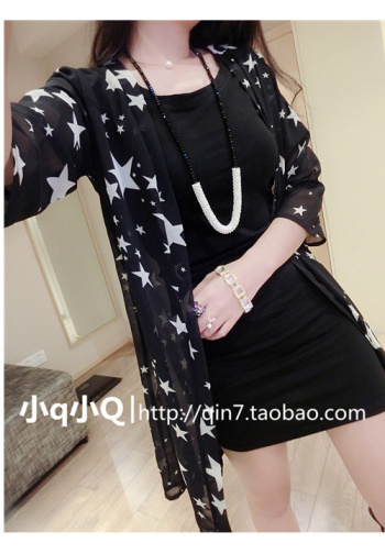 2015 summer new stars printed shawls Sun dress Cardigan star chiffon shirt