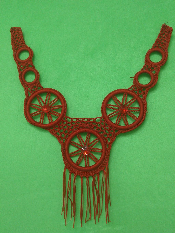 钩针编织圆环溜须钻石假衣领