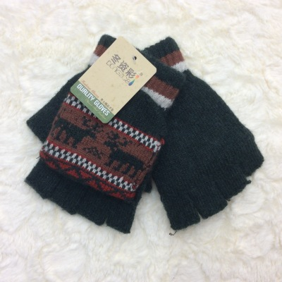 New manufacturers wholesale winter color winter men half finger with cover fawn gloves winter