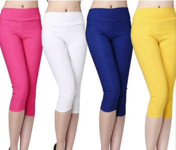 Italy pants cropped trousers in strawberry Strawberry Candy-colored woven leggings pencil pants elasticity