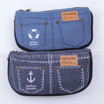 Cute cosmetic bag canvas jeans-simple men and women bags