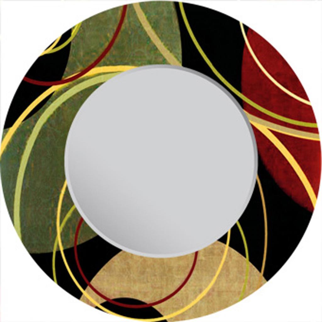 镜子直径80cm和60cm圆形漆画工艺抽象几何图形装饰镜