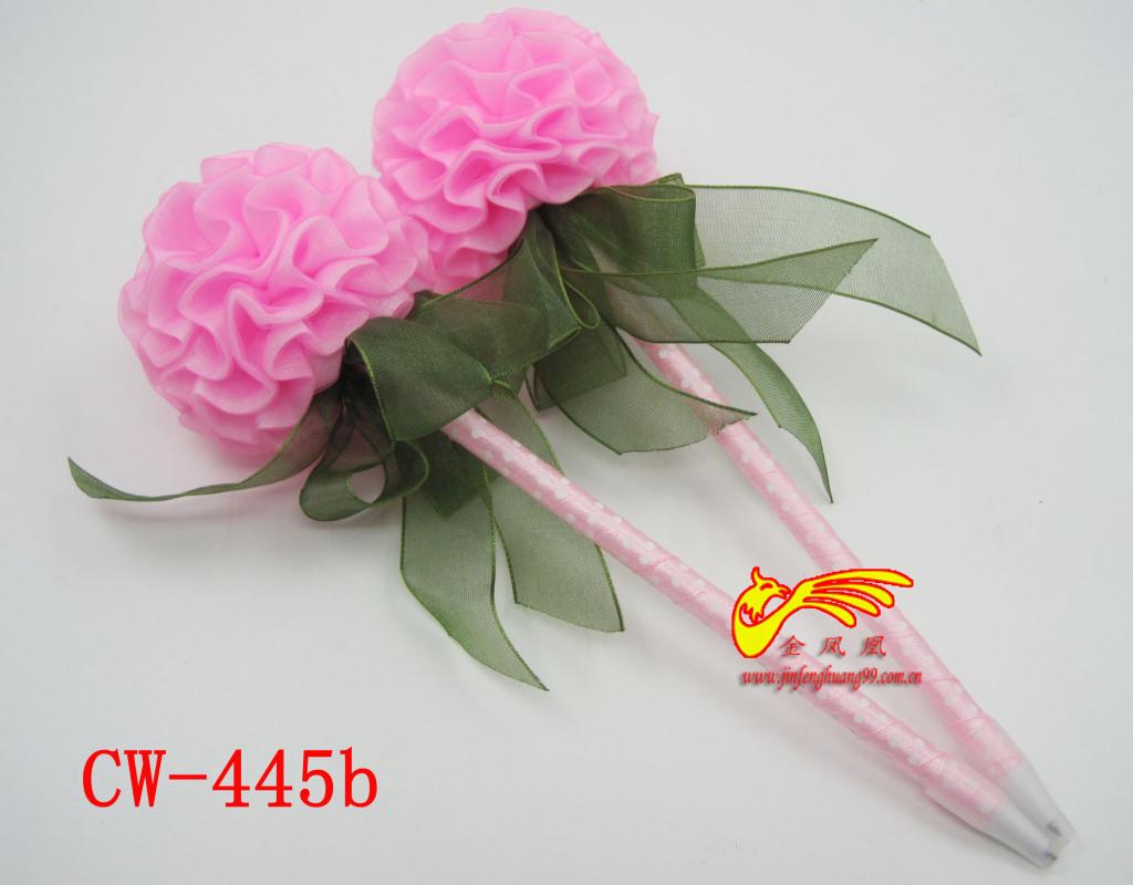 花球造型笔 花球丝带圆珠笔 情人节礼品 婚庆笔 创意文具